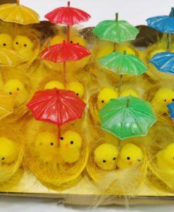 nido pulcini pasqua 12 pezzi con ombrellino - decorazioni