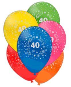 palloncini 40 anni stampa in rilievo 10 colori assortiti