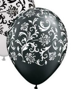 palloncino nero stampa bianco