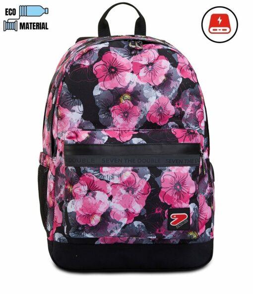 zaio capiente per la scuola seven nero fiori fiori