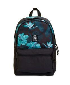 zaino invicta per la scuola nero con fiori azzurri