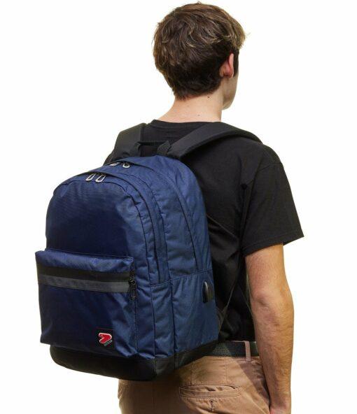 zaino seven blu spallacci imbottiti schienale ergonomico con power bank